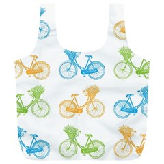 Vintage Bikes With Basket Of Flowers Colorful Wallpaper Background Illustration Full Print Recycle Bags (L)