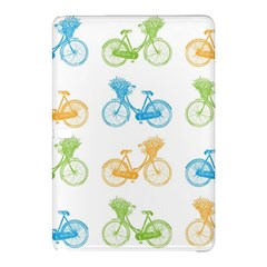 Vintage Bikes With Basket Of Flowers Colorful Wallpaper Background Illustration Samsung Galaxy Tab Pro 10.1 Hardshell Case
