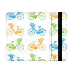 Vintage Bikes With Basket Of Flowers Colorful Wallpaper Background Illustration Samsung Galaxy Tab Pro 8.4  Flip Case