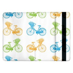 Vintage Bikes With Basket Of Flowers Colorful Wallpaper Background Illustration Samsung Galaxy Tab Pro 12.2  Flip Case