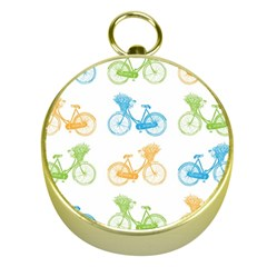 Vintage Bikes With Basket Of Flowers Colorful Wallpaper Background Illustration Gold Compasses