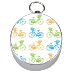 Vintage Bikes With Basket Of Flowers Colorful Wallpaper Background Illustration Silver Compasses