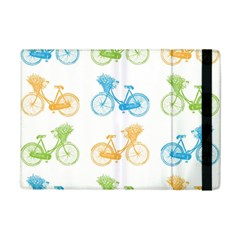 Vintage Bikes With Basket Of Flowers Colorful Wallpaper Background Illustration iPad Mini 2 Flip Cases