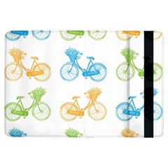 Vintage Bikes With Basket Of Flowers Colorful Wallpaper Background Illustration iPad Air Flip