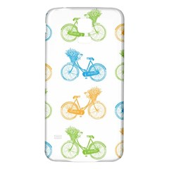 Vintage Bikes With Basket Of Flowers Colorful Wallpaper Background Illustration Samsung Galaxy S5 Back Case (White)