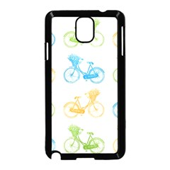Vintage Bikes With Basket Of Flowers Colorful Wallpaper Background Illustration Samsung Galaxy Note 3 Neo Hardshell Case (Black)
