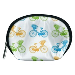 Vintage Bikes With Basket Of Flowers Colorful Wallpaper Background Illustration Accessory Pouches (Medium)