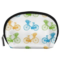 Vintage Bikes With Basket Of Flowers Colorful Wallpaper Background Illustration Accessory Pouches (large)