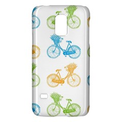 Vintage Bikes With Basket Of Flowers Colorful Wallpaper Background Illustration Galaxy S5 Mini