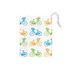 Vintage Bikes With Basket Of Flowers Colorful Wallpaper Background Illustration Drawstring Pouches (Small)
