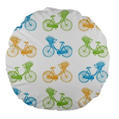 Vintage Bikes With Basket Of Flowers Colorful Wallpaper Background Illustration Large 18  Premium Flano Round Cushions