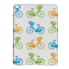 Vintage Bikes With Basket Of Flowers Colorful Wallpaper Background Illustration iPad Air 2 Hardshell Cases
