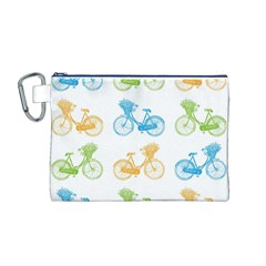 Vintage Bikes With Basket Of Flowers Colorful Wallpaper Background Illustration Canvas Cosmetic Bag (M)