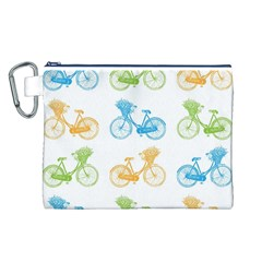 Vintage Bikes With Basket Of Flowers Colorful Wallpaper Background Illustration Canvas Cosmetic Bag (l)