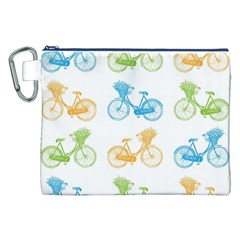 Vintage Bikes With Basket Of Flowers Colorful Wallpaper Background Illustration Canvas Cosmetic Bag (XXL)