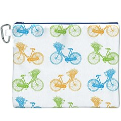 Vintage Bikes With Basket Of Flowers Colorful Wallpaper Background Illustration Canvas Cosmetic Bag (xxxl)