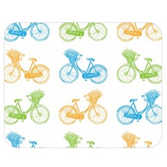 Vintage Bikes With Basket Of Flowers Colorful Wallpaper Background Illustration Double Sided Flano Blanket (medium)