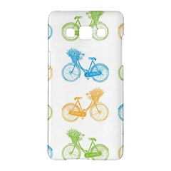 Vintage Bikes With Basket Of Flowers Colorful Wallpaper Background Illustration Samsung Galaxy A5 Hardshell Case