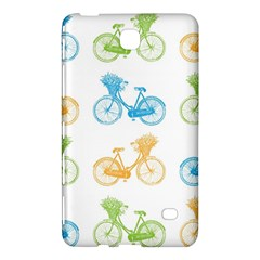 Vintage Bikes With Basket Of Flowers Colorful Wallpaper Background Illustration Samsung Galaxy Tab 4 (7 ) Hardshell Case