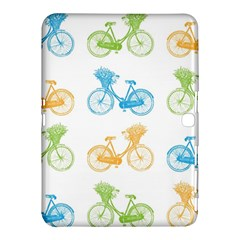 Vintage Bikes With Basket Of Flowers Colorful Wallpaper Background Illustration Samsung Galaxy Tab 4 (10 1 ) Hardshell Case
