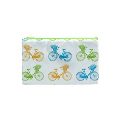 Vintage Bikes With Basket Of Flowers Colorful Wallpaper Background Illustration Cosmetic Bag (xs)