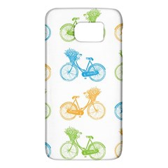 Vintage Bikes With Basket Of Flowers Colorful Wallpaper Background Illustration Galaxy S6