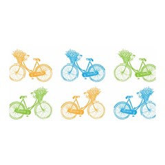 Vintage Bikes With Basket Of Flowers Colorful Wallpaper Background Illustration Satin Wrap