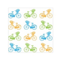 Vintage Bikes With Basket Of Flowers Colorful Wallpaper Background Illustration Small Satin Scarf (Square)