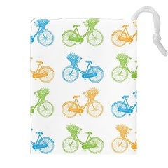 Vintage Bikes With Basket Of Flowers Colorful Wallpaper Background Illustration Drawstring Pouches (xxl)