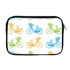 Vintage Bikes With Basket Of Flowers Colorful Wallpaper Background Illustration Apple Macbook Pro 17  Zipper Case