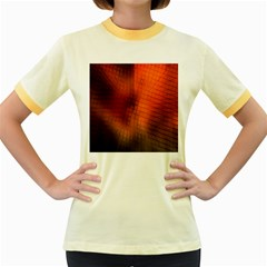 Background Technical Design With Orange Colors And Details Women s Fitted Ringer T-Shirts
