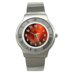 Background Technical Design With Orange Colors And Details Stainless Steel Watch