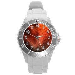 Background Technical Design With Orange Colors And Details Round Plastic Sport Watch (L)