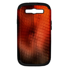 Background Technical Design With Orange Colors And Details Samsung Galaxy S Iii Hardshell Case (pc+silicone)