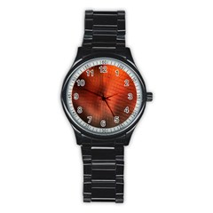 Background Technical Design With Orange Colors And Details Stainless Steel Round Watch