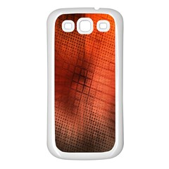 Background Technical Design With Orange Colors And Details Samsung Galaxy S3 Back Case (White)