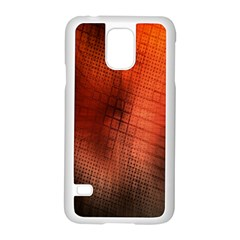 Background Technical Design With Orange Colors And Details Samsung Galaxy S5 Case (White)