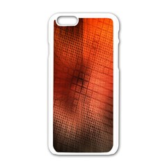 Background Technical Design With Orange Colors And Details Apple Iphone 6/6s White Enamel Case