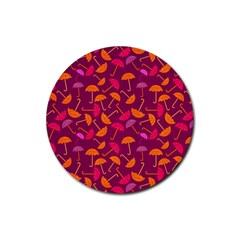 Umbrella Seamless Pattern Pink Lila Rubber Round Coaster (4 pack)