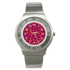 Umbrella Seamless Pattern Pink Lila Stainless Steel Watch