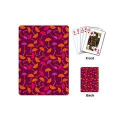 Umbrella Seamless Pattern Pink Lila Playing Cards (mini)