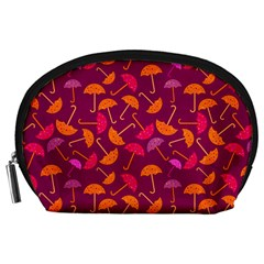 Umbrella Seamless Pattern Pink Lila Accessory Pouches (Large)