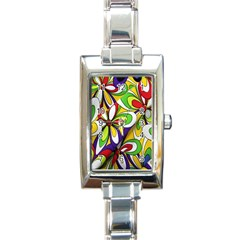 Colorful Textile Background Rectangle Italian Charm Watch