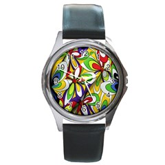 Colorful Textile Background Round Metal Watch