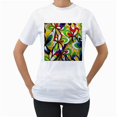 Colorful Textile Background Women s T Shirt (white) (two Sided)