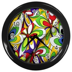 Colorful Textile Background Wall Clocks (black)