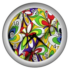 Colorful Textile Background Wall Clocks (Silver)