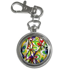 Colorful Textile Background Key Chain Watches