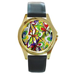Colorful Textile Background Round Gold Metal Watch