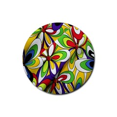 Colorful Textile Background Rubber Round Coaster (4 Pack)